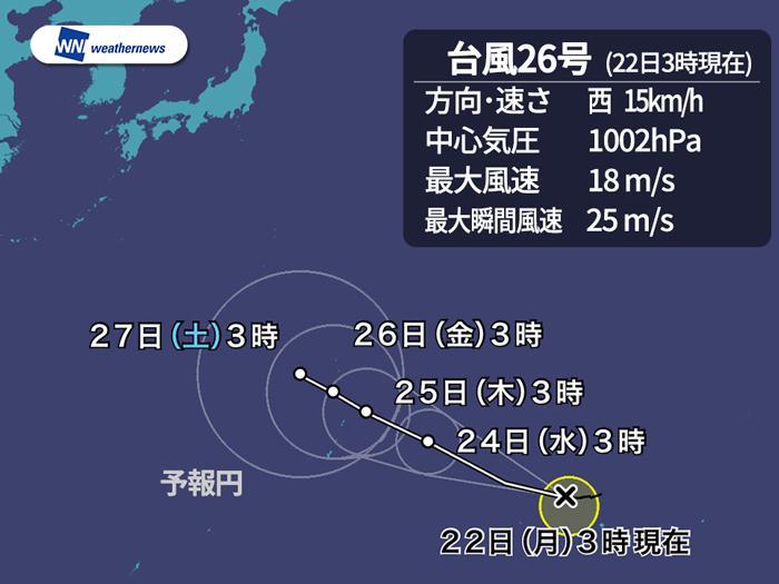 台風26号イートゥー発生