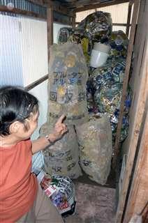 アルミ缶回収の女性、窃盗容疑で摘発